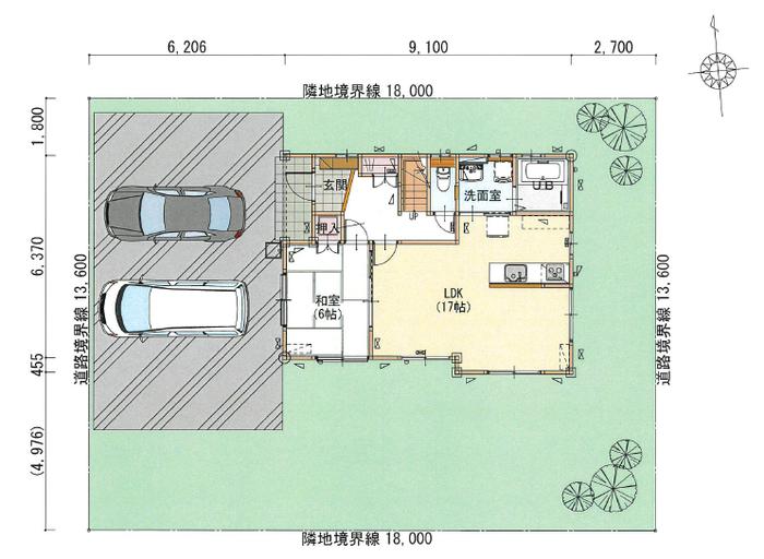 敷地面積74.06坪で余裕の駐車スペース